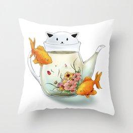 Flowering Tea in a Cat Teapot Throw Pillow