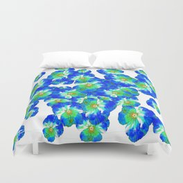 Spring  Blue Pansies Garden Abstract Duvet Cover