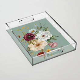 Colorful Wildflower Bouquet on Blue Acrylic Tray