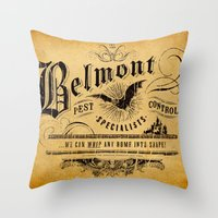 castlevania Throw Pillows featuring Belmont Pest Control Specialists by Greg Barnes