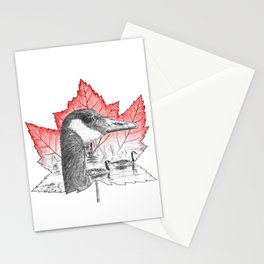Canada Goose on Maple Leaf (with some red) Stationery Cards