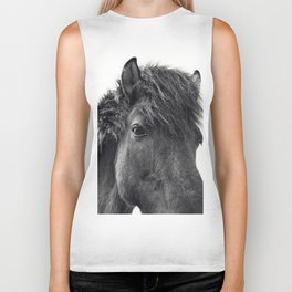 Fuzzy Horse Photograph in Black and White Biker Tank