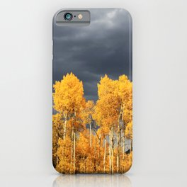 Golden Aspens and an Impending Storm iPhone Case