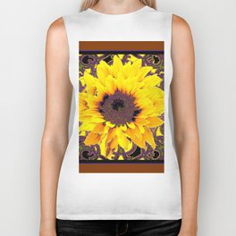 Coffee Brown  Purple & Yellow Floral Garden Pattern Biker Tank