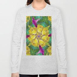 MYSTIC YELLOW ROSES MORNING GLORIES GREEN ART Long Sleeve T-shirt