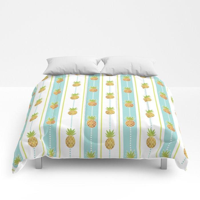 Vintage Glitter Pineapples Comforters