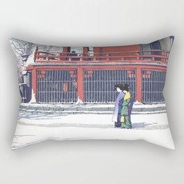Asakusa Kannon Temple In Snow - Vintage Japanese Woodblock Print Art Rectangular Pillow