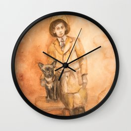 Vintage friendship, a boy and his dog Wall Clock