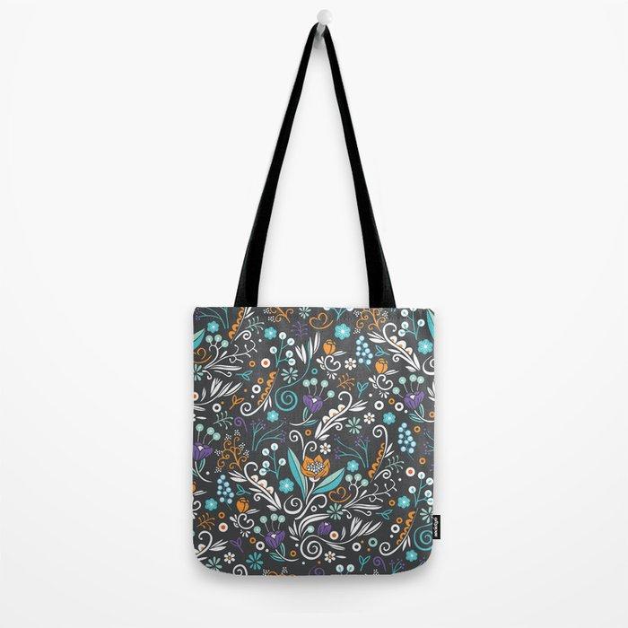 Flower circle pattern, brown Tote Bag