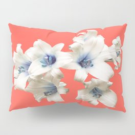 Blue Heart Lilies on Living Coral Pillow Sham