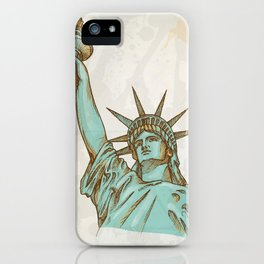 statue of liberty hand dawn iPhone Case