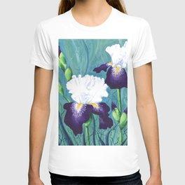 Starlight Irises (White and Deep Purple) T-shirt