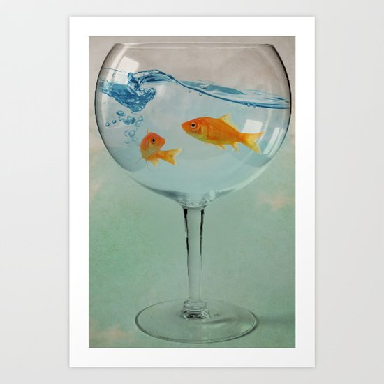 Goldfish glass Art Print