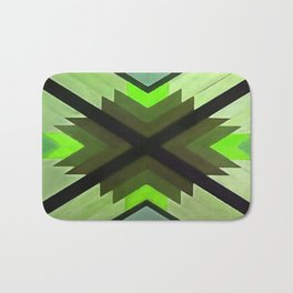 Navaho Vibes Geometric Pattern - Black Olive Lime Bath Mat