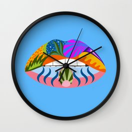 Lips with bold abstract patterns, blue retro pop art illustration Wall Clock