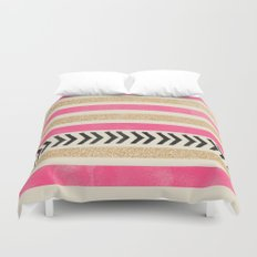 PINK AND GOLD STRIPES AND ARROWS Duvet Cover