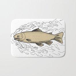 Brown Trout Waves Tattoo Bath Mat