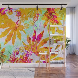 Tropical Adventure - Neon Orange, Pink and Mint Wall Mural