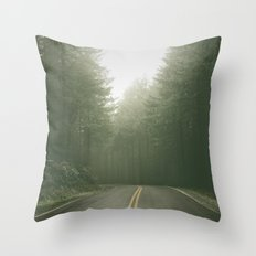 Forest Road Trip - Vintage Fir Trees Pacific Northwest Throw Pillow