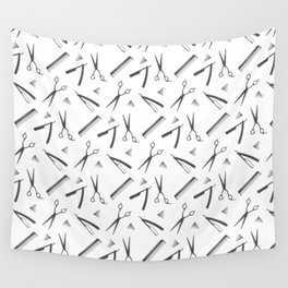Barbershop pattern shaving razor, brushes and scissors on white Wall Tapestry