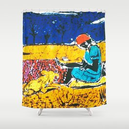 Emily paints her Story, AUSTRALIA                   by Kay Lipton Shower Curtain