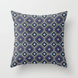 Vintage Quilted Patchwork Retro Geometric Seamless Pattern Throw Pillow