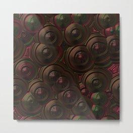 Dark shiny brown red green metal mirror circles Metal Print