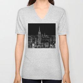 Contemporary Elegant Silver City Skyline Design Unisex V-Neck