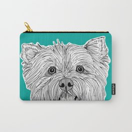 West Highland Terrier Dog Portrait ( teal background ) Carry-All Pouch
