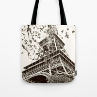 eiffel tower Tote Bags featuring Eiffel Tower by Linde Townsend