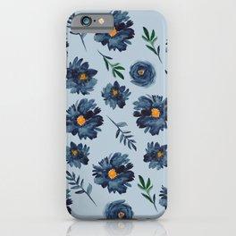 Watercolor Flower Pattern - Classic Blue - Indigo iPhone Case
