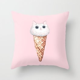 Cat Ice Cream Throw Pillow