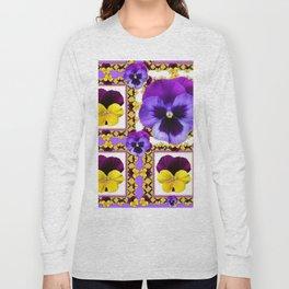 ASYMMETRICAL SPRING PURPLE & YELLOW PANSIES  ART Long Sleeve T-shirt
