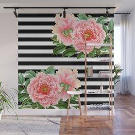 Pink Peonies Black Stripes Wall Mural