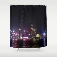 hong kong Shower Curtains featuring Hong Kong Laser Show by Lynn Bolt