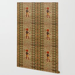 Egyptian Re-Horakhty  - Ra-Horakht  Ornament on papyrus Wallpaper