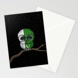 Baby Owl with Glasses and Pakistani Flag Stationery Cards