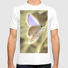 Purple Butterfly White Mens Fitted Tee MEDIUM