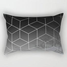 Silver Geometric Cubes Trendy White Grey Marble Rectangular Pillow