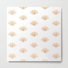 Orange Evil Eye Pattern Metal Print