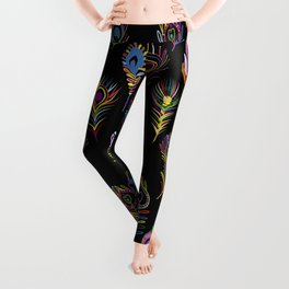 Fusion of Peacock Feathers Leggings