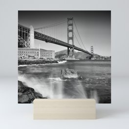 Golden Gate Bridge with breakers Mini Art Print