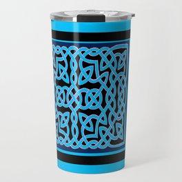 Black and Aqua Celtic Interlace Travel Mug