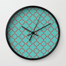 Quatrefoil - Turquoise & Red Wall Clock