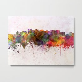 Oakland skyline in watercolor background Metal Print