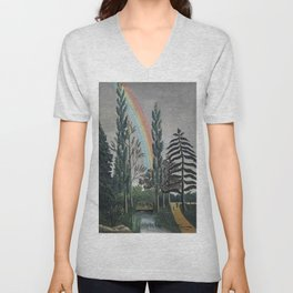 Stormy Sky with Rainbow and Foliage (Lake Daumesnil by Henri Rousseau circa 1898) Unisex V-Neck