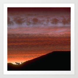 Horses on Edge of Horizon at Sunset Art Print
