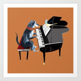 Piano lesson with Angel Art Print