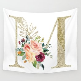 M Monogram Gold Foil Initial with Watercolor Flowers Wall Tapestry