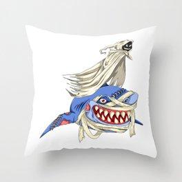 Halloween Ghost Shark Throw Pillow
